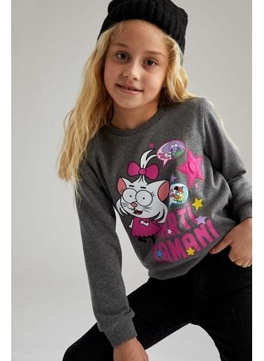 DeFacto Kız Çocuk Kral Şakir Lisanslı Sweatshirt Antrasit